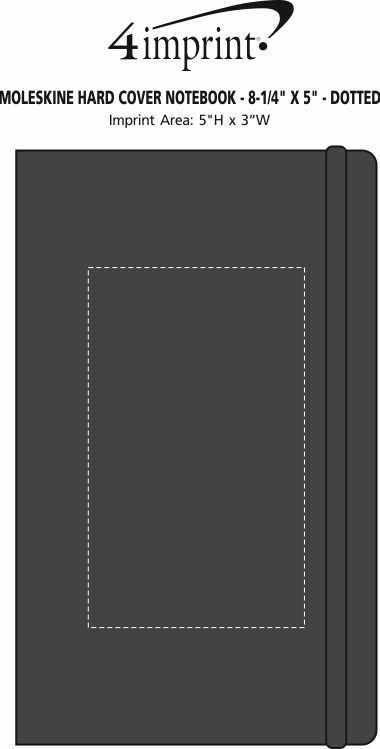"""Imprint Area of Moleskine Hard Cover Notebook - 8-1/4"""" x 5"""" - Dotted"""