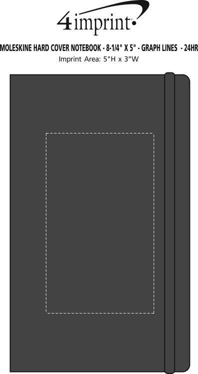 """Imprint Area of Moleskine Hard Cover Notebook - 8-1/4"""" x 5"""" - Graph - 24 hr"""