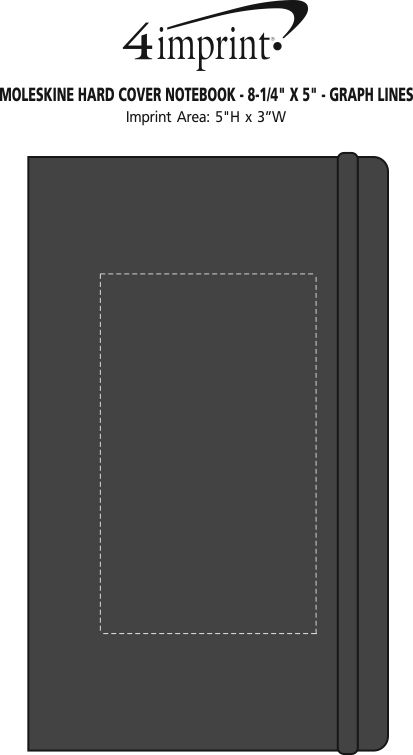 """Imprint Area of Moleskine Hard Cover Notebook - 8-1/4"""" x 5"""" - Graph"""