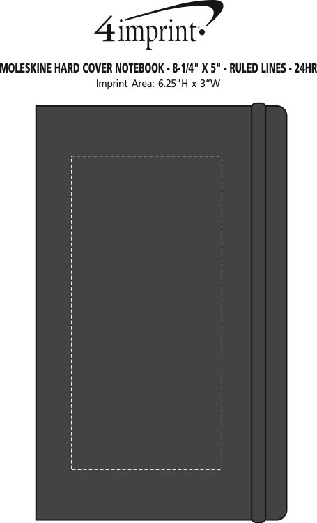 "Imprint Area of Moleskine Hard Cover Notebook - 8-1/4"" x 5"" - Ruled - 24 hr"