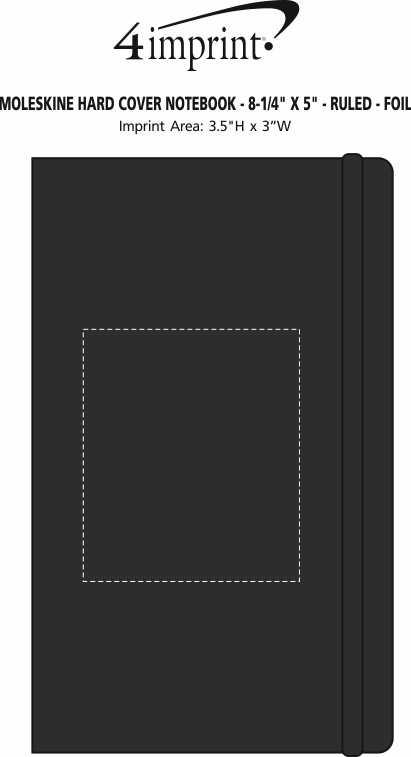 "Imprint Area of Moleskine Hard Cover Notebook - 8-1/4"" x 5"" - Ruled - Foil Stamp"