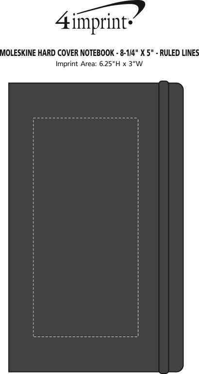 "Imprint Area of Moleskine Hard Cover Notebook - 8-1/4"" x 5"" - Ruled"