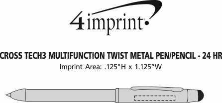 Imprint Area of Cross Tech3 Multifunction Stylus Twist Metal Pen/Pencil - 24 hr
