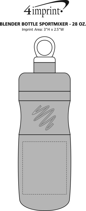 Imprint Area of BlenderBottle SportMixer - 28 oz.