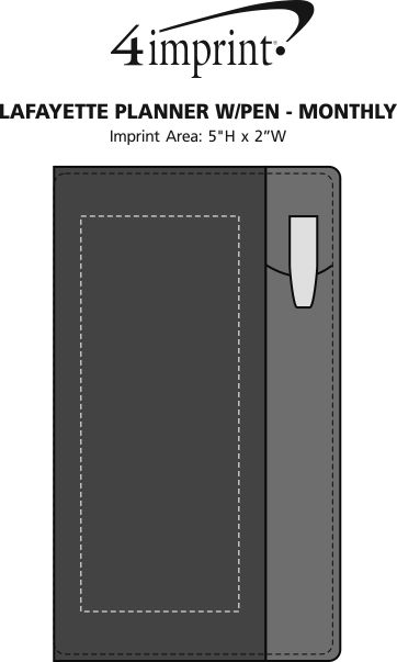 Imprint Area of Lafayette Planner with Pen - Monthly
