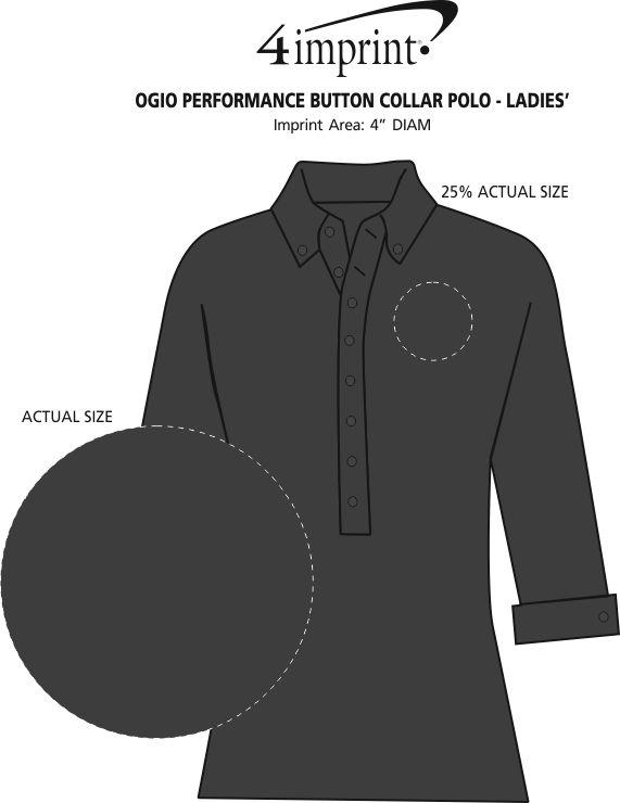 Imprint Area of OGIO Performance Button Collar Polo - Ladies'
