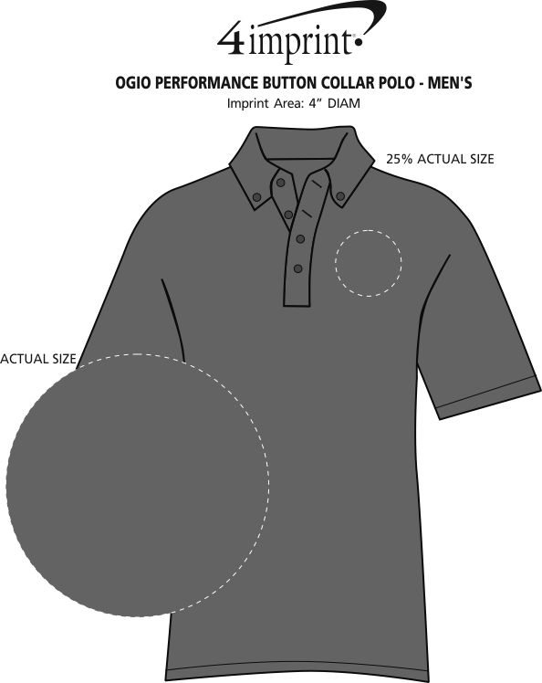 Imprint Area of OGIO Performance Button Collar Polo - Men's