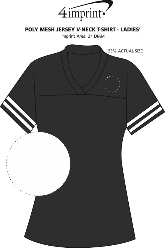Imprint Area of Poly Mesh Jersey V-Neck T-Shirt - Ladies' - Embroidered