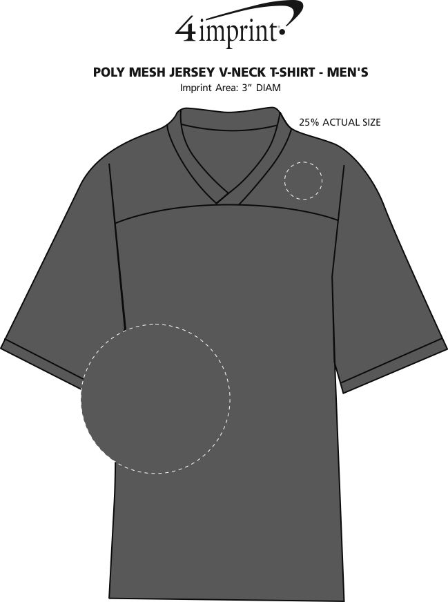 Imprint Area of Poly Mesh Jersey V-Neck T-Shirt - Men's - Embroidered