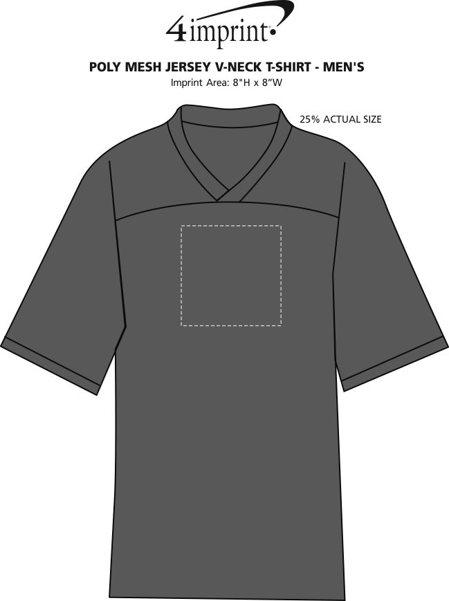 Imprint Area of Poly Mesh Jersey V-Neck T-Shirt - Men's