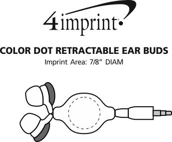Imprint Area of Color Dot Retractable Ear Buds