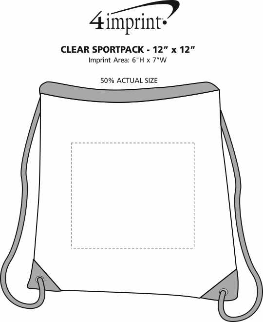 "Imprint Area of Clear Sportpack - 12"" x 12"""