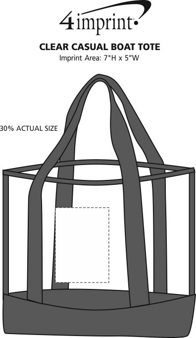 Imprint Area of Clear Casual Boat Tote