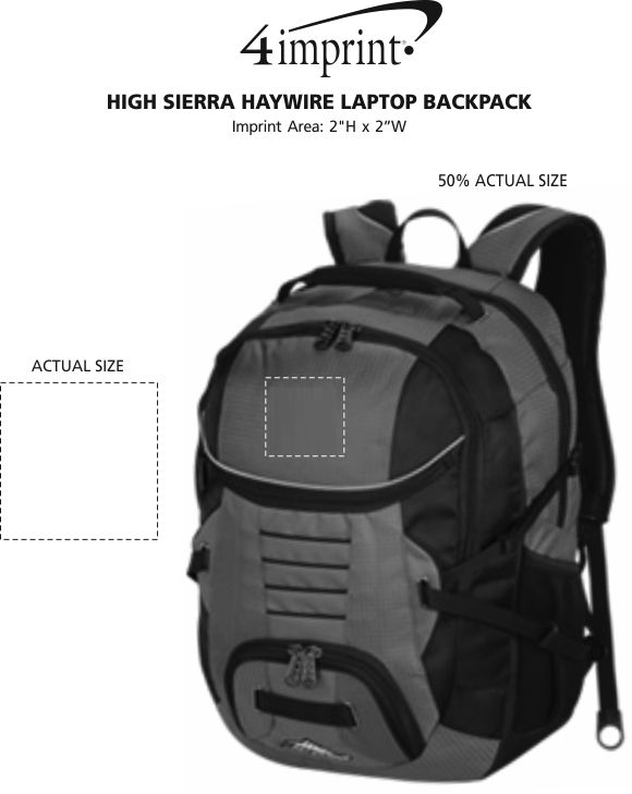 Imprint Area of High Sierra Haywire Laptop Backpack