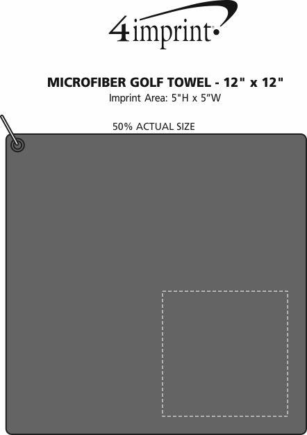 "Imprint Area of Microfiber Golf Towel - 12"" x 12"""