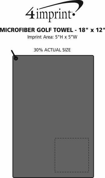 "Imprint Area of Microfiber Golf Towel - 18"" x 12"""