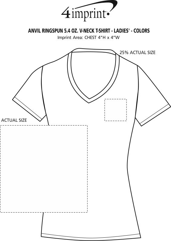 Imprint Area of Anvil Ringspun 4.5 oz. V-Neck T-Shirt - Ladies' - Colors