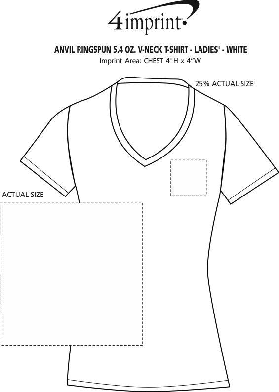 Imprint Area of Anvil Ringspun 4.5 oz. V-Neck T-Shirt - Ladies' - White