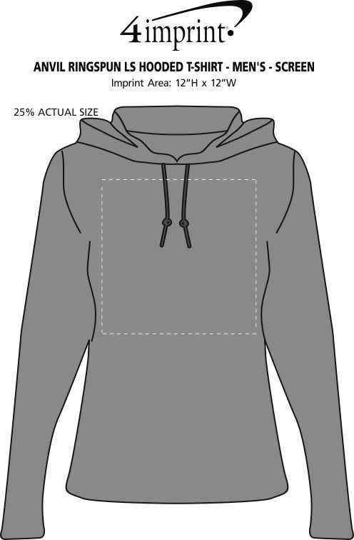 Imprint Area of Anvil Ringspun LS Hooded T-Shirt - Men's - Screen