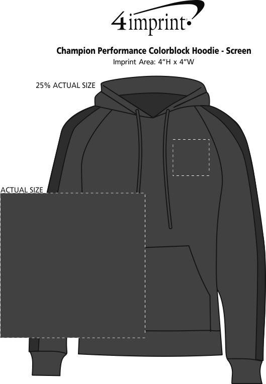 Imprint Area of Champion Performance Colorblock Hoodie - Screen
