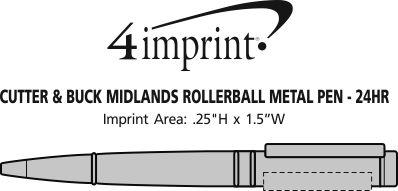 Imprint Area of Cutter & Buck Midlands Rollerball Metal Pen - 24 hr