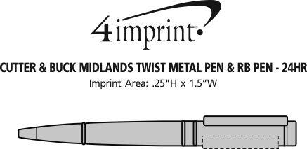 Imprint Area of Cutter & Buck Midlands Twist Metal Pen & RB Pen - 24 hr