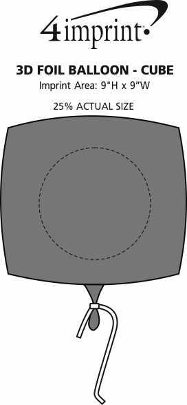 Imprint Area of 3D Foil Balloon - Cube