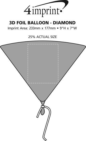 Imprint Area of 3D Foil Balloon - Diamond