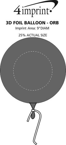 Imprint Area of 3D Foil Balloon - Orb