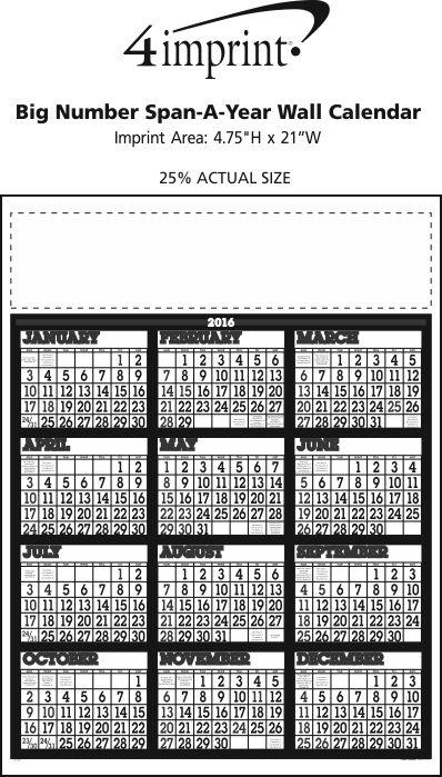 Imprint Area of Big Number Span-A-Year Wall Calendar