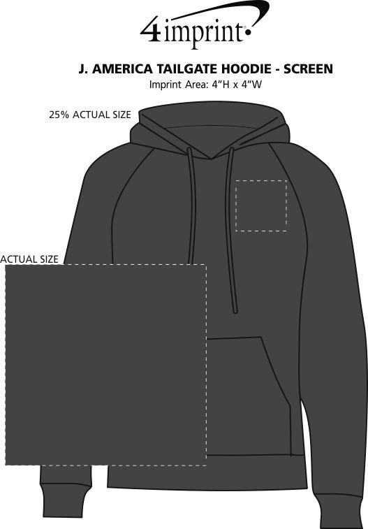 Imprint Area of J. America Tailgate Hoodie - Screen