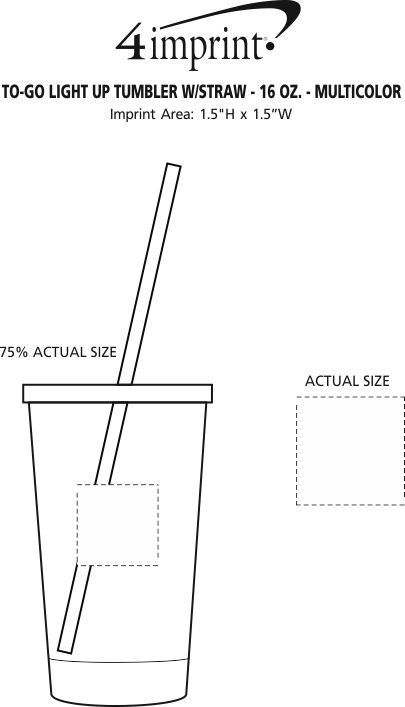 Imprint Area of To-Go Light-Up Tumbler with Straw - 16 oz. - Multicolor