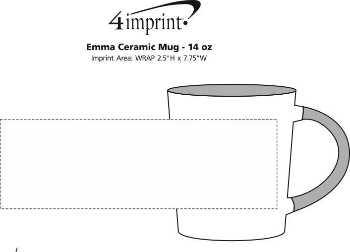 Imprint Area of Customized Emma Coffee Mug - 14 oz.