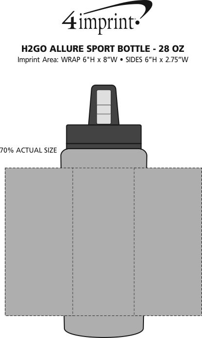 Imprint Area of h2go Allure Sport Bottle - 28 oz.