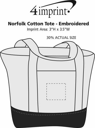 Imprint Area of Norfolk Cotton Tote - Embroidered