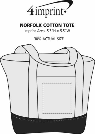 Imprint Area of Norfolk Cotton Tote