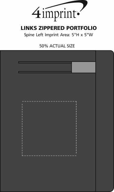Imprint Area of Links Zippered Portfolio