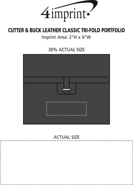 Imprint Area of Cutter & Buck Leather Classic Tri-Fold Portfolio