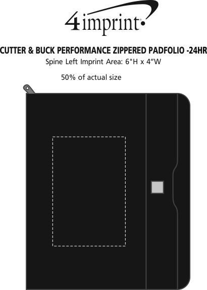 Imprint Area of Cutter & Buck Performance Zippered Padfolio - 24 hr