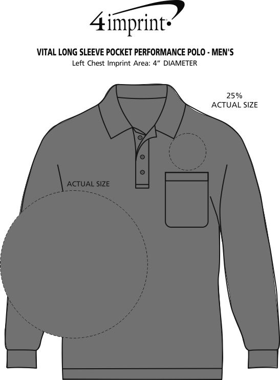 Imprint Area of Vital Long Sleeve Pocket Performance Polo - Men's