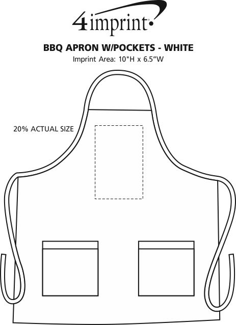 Imprint Area of BBQ Apron with Pockets - White