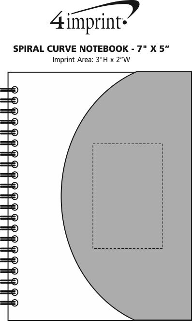 "Imprint Area of Spiral Curve Notebook - 7"" x 5"""