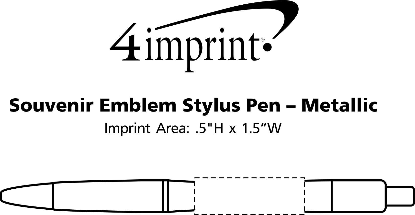 Imprint Area of Bic Emblem Stylus Pen - Metallic