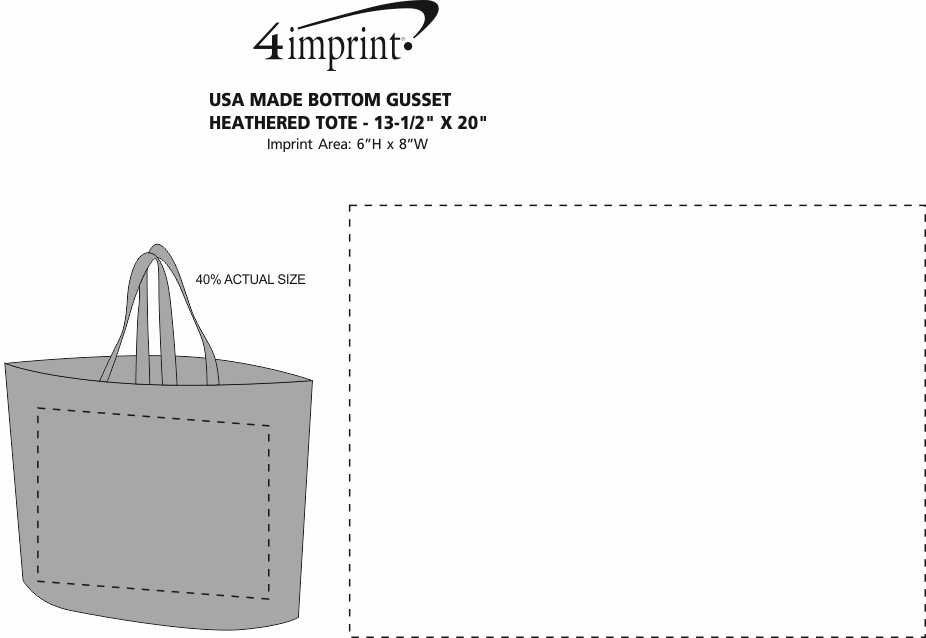 """Imprint Area of Heat Seal Bottom Gusset Heathered Tote - 13-1/2"""" x 20"""""""