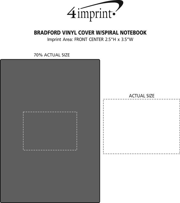 Imprint Area of Bradford Vinyl Cover with Spiral Notebook