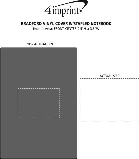 Imprint Area of Bradford Vinyl Cover with Stapled Notebook