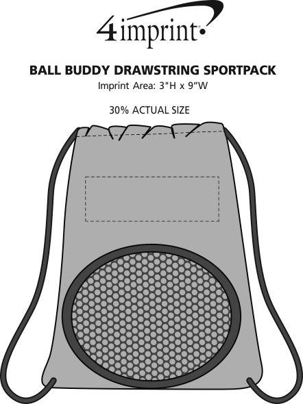 Imprint Area of Ball Buddy Drawstring Sportpack