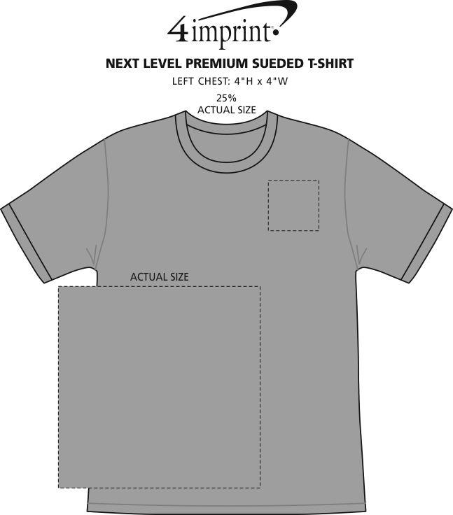 Imprint Area of Next Level Premium Sueded T-Shirt
