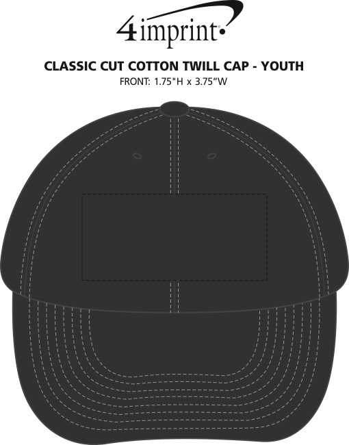 Imprint Area of Classic Cut Cotton Twill Cap - Youth
