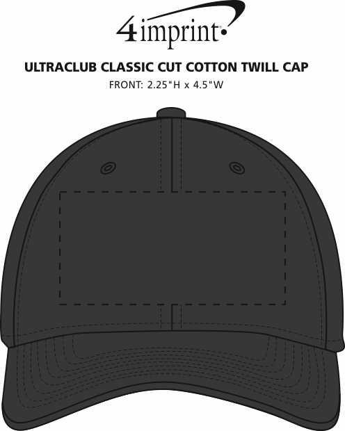 Imprint Area of UltraClub Classic Cut Cotton Twill Cap